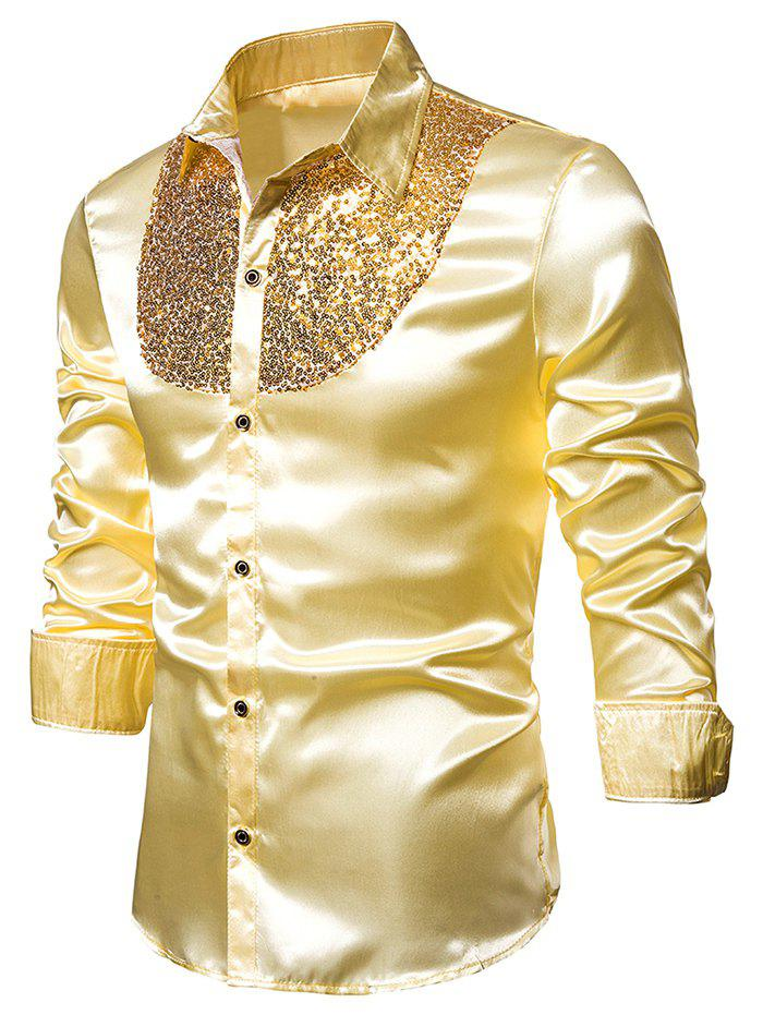 Online Sequined Panel Button Up Long Sleeve Shirt