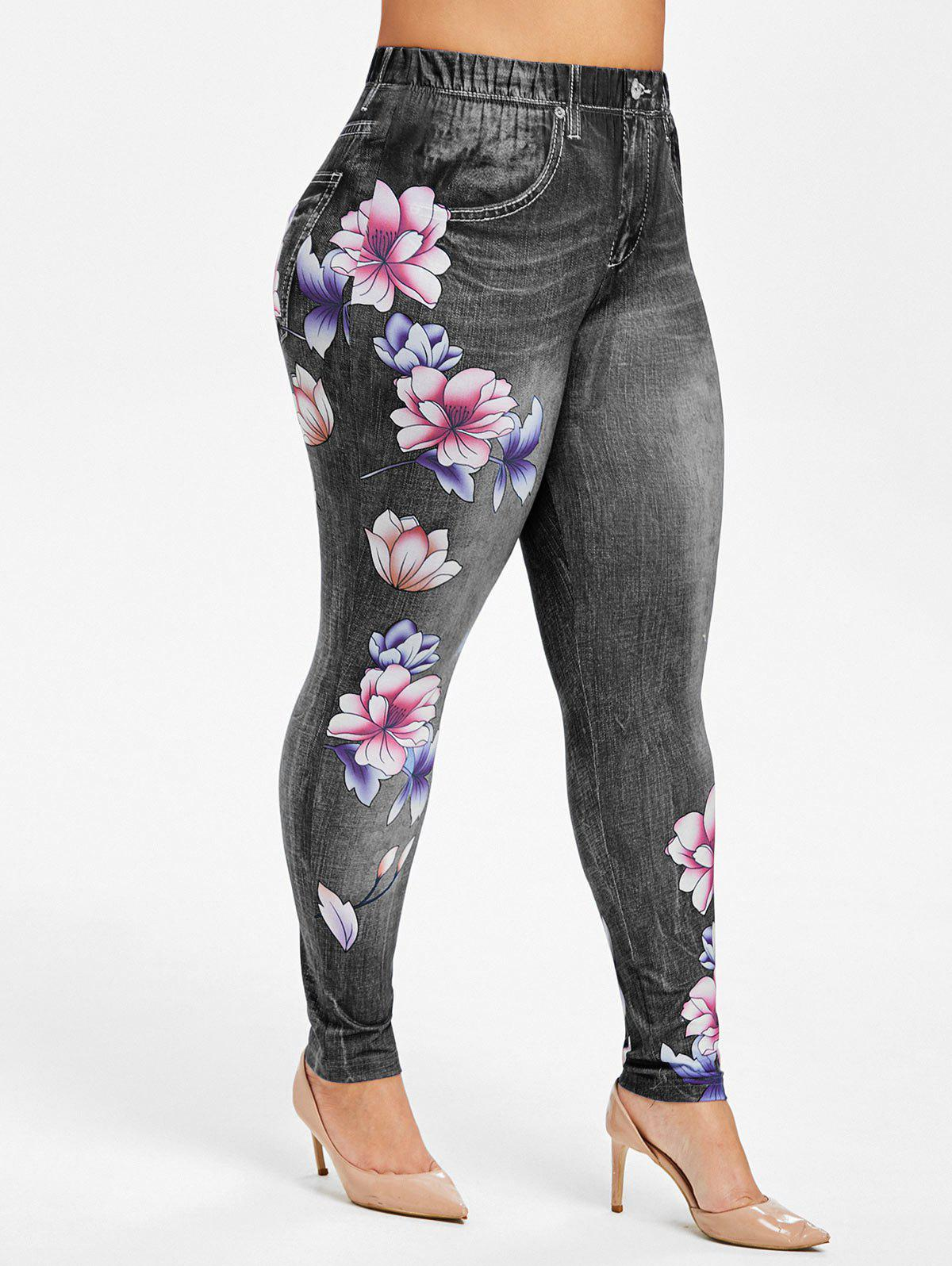 Chic Plus Size High Rise Floral Jean 3D Print Jeggings