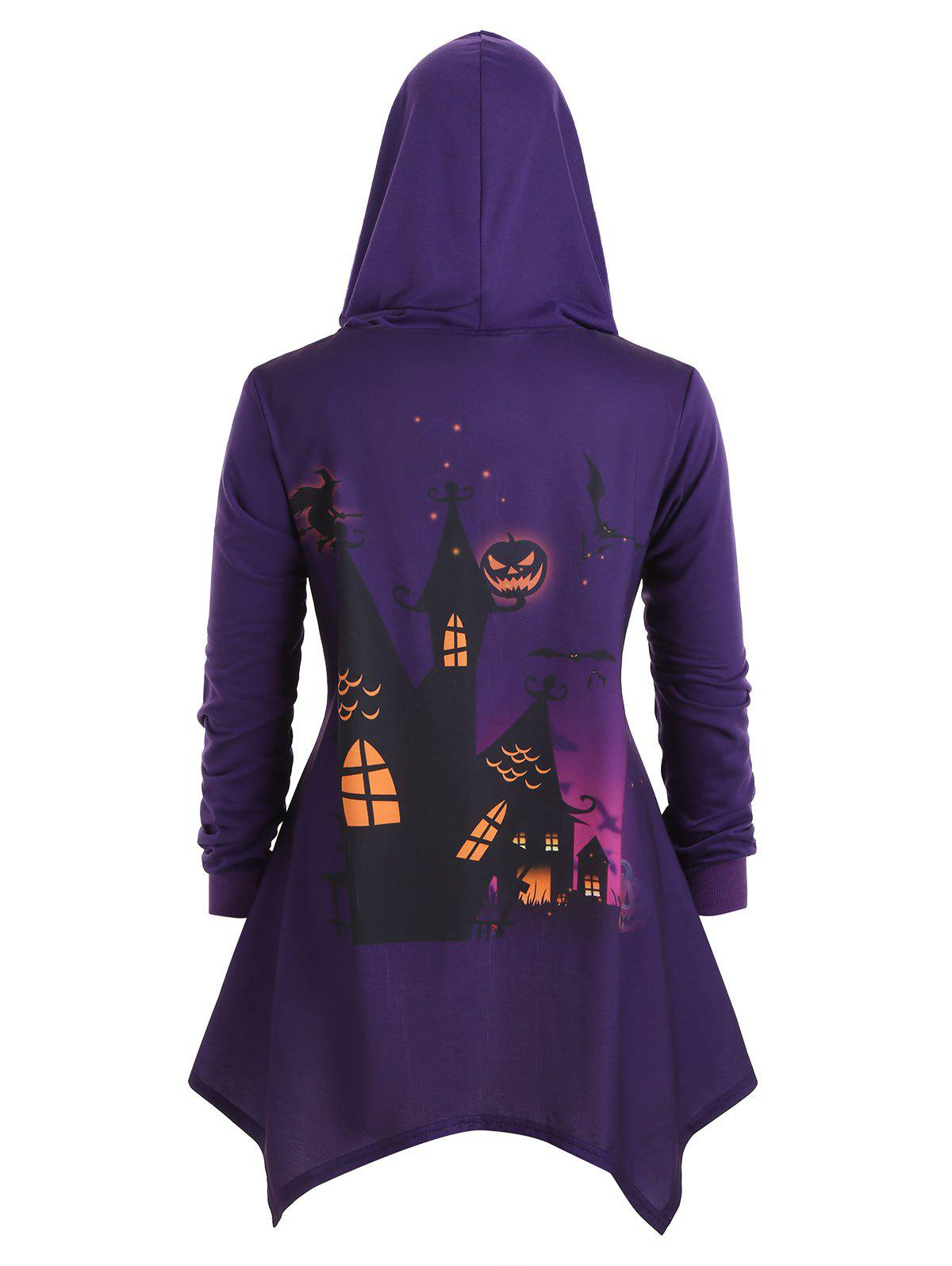 Unique Plus Size Bat Pumpkin Print Asymmetrical Halloween Coat
