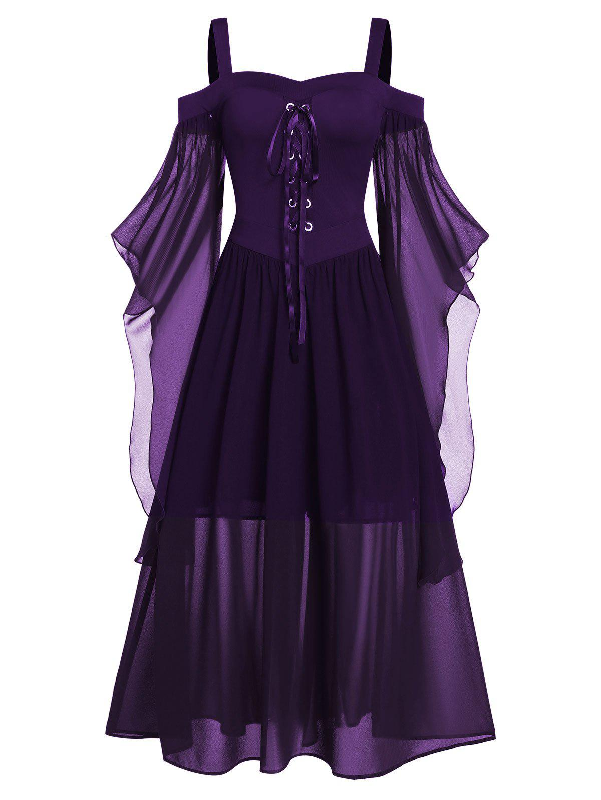 Best Plus Size Butterfly Sleeve Lace Up Gothic Halloween Dress