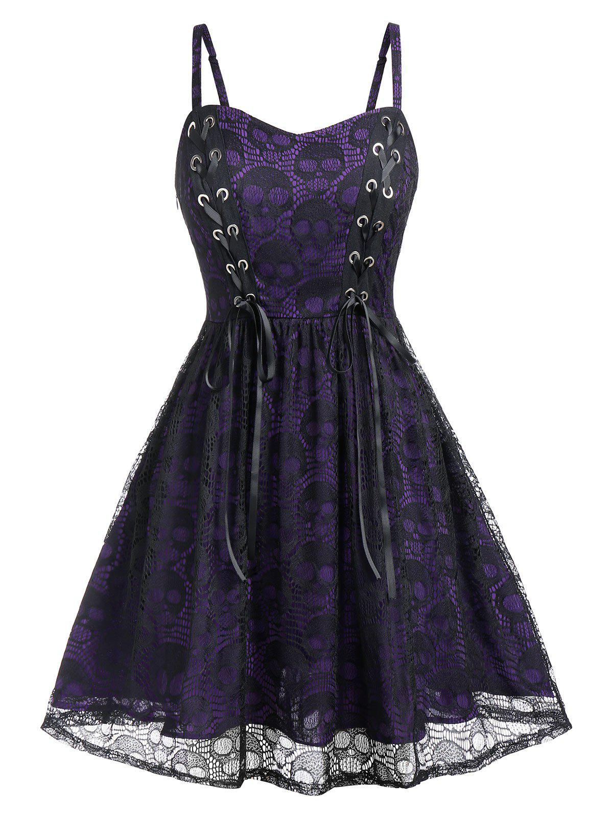Trendy Plus Size Halloween Lace Skulls Grommet A Line Dress