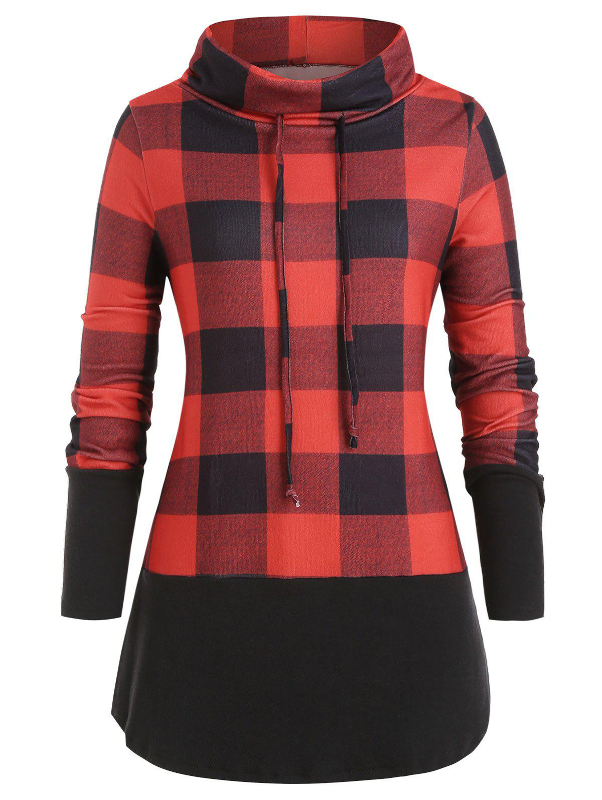 Trendy Plus Size Cowl Neck Brushed Plaid Tunic Sweatshirt