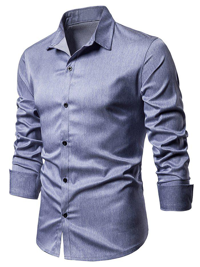 Buy Heathered Button Up Long Sleeve Shirt