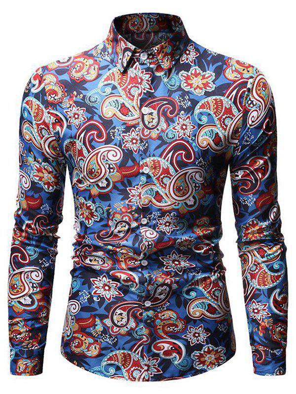 Discount Paisley Pattern Button Down Long-sleeved Shirt