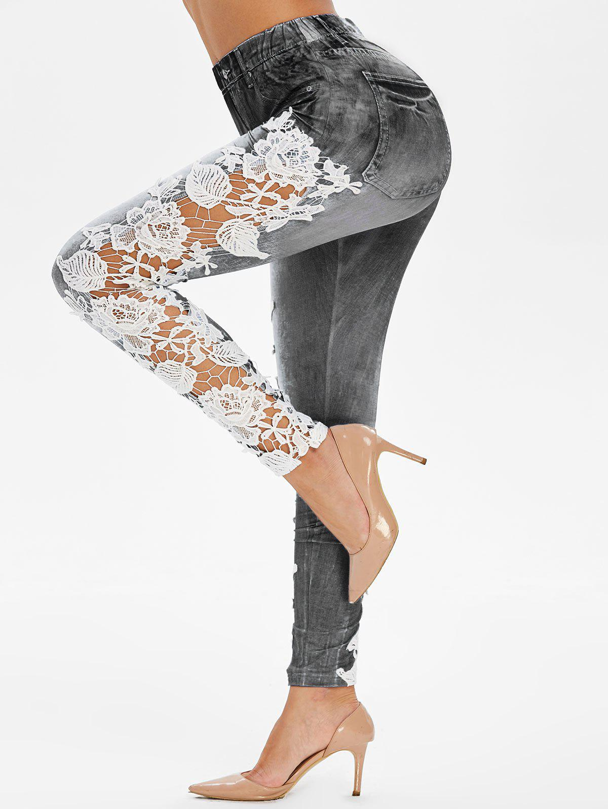 Latest High Rise Applique Panel Sheer Elastic Jeggings