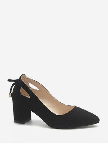Cut Out Tie Back Chunky Heel Pumps