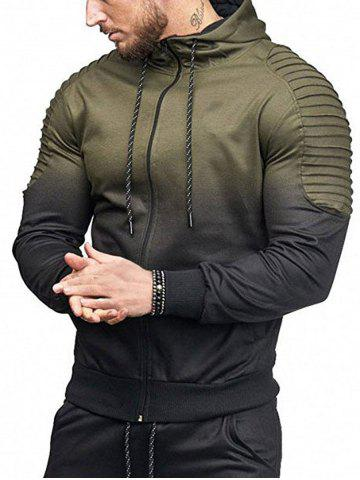 Gradient Print Shoulder Pleated Sports Zip Hoodie