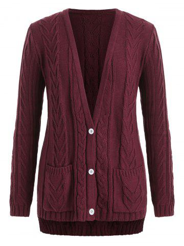 Plus Size Cable Knit Plunge High Low Cardigan