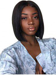 Center Parting Straight Short Bob Synthetic Lace Wig -
