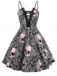 Lace Trim Halloween Skull Print Lace Up Plus Size Dress -