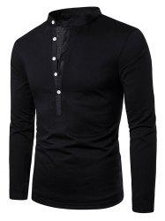 Stand Collar Henley Long Sleeve Casual T Shirt -