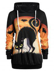 Plus Size Halloween 3D Print Drawstring Pullover Hoodie -