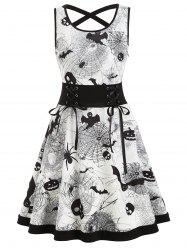Criss Cross Bat Pumpkin Halloween Flare Dress -