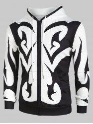 Abstract Print Zip Up Pockets Hoodie -