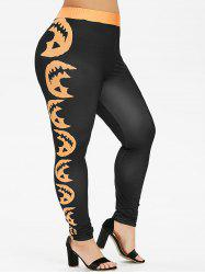 Plus Size Pumpkin Face Print Halloween Leggings -