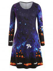 Plus Size Bat Ghost Galaxy Print Halloween Dress -