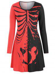Long Sleeve Skeleton Halloween Plus Size Tee Dress -