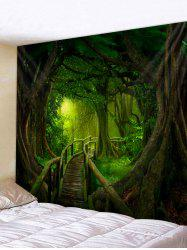 Forest Wooden Bridge Printed Tapestry Wall Hanging Art Decoration -