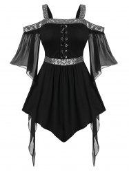 Plus Size Halloween Butterfly Sleeve Sequins Gothic T Shirt -