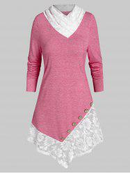 Lace Panel Button Marled T Shirt -