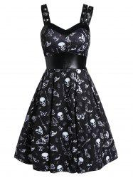 Skull Print High Waist Fit And Flare Dress -