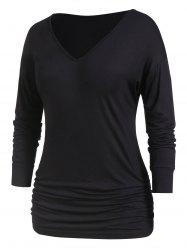 Plus Size Long Sleeve Tunic Basic T Shirt -
