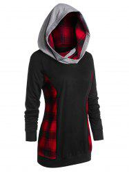 Plus Size Tunic Checked Panel Long Sleeve Hoodie -