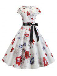 Floral Belted A Line Retro Dress -