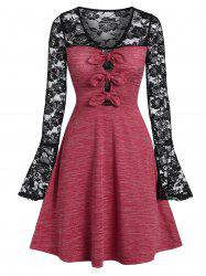 Lace Insert Bowknot Space Dye Dress -