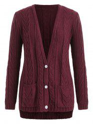 Plus Size Cable Knit Plunge High Low Cardigan -