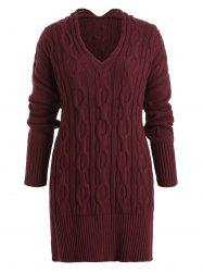 Plus Size Cable Knit Side Slit Tunic Sweater -