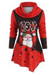Cowl Neck Santa Claus Mock Buttons Christmas Top -