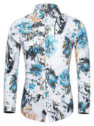 Plus Size Flower and Birds Print Button Up Shirt -