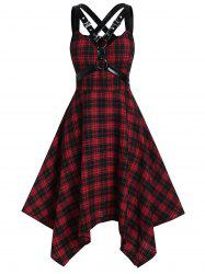 Plus Size Handkerchief Plaid Harness Gothic Dress -