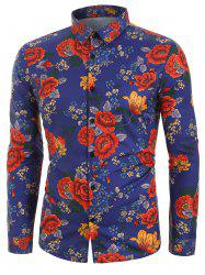 Flower Print Long Sleeves Casual Shirt -