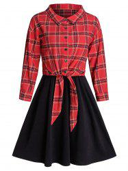 Plaid Front Tie Top And Sleeveless Dress Set -