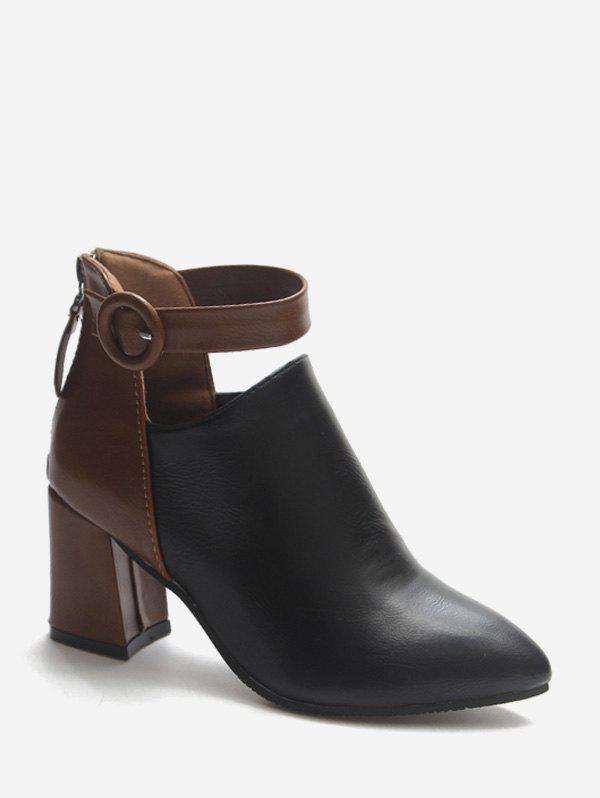 Unique Contrast Buckle Cut Out PU Ankle Boots