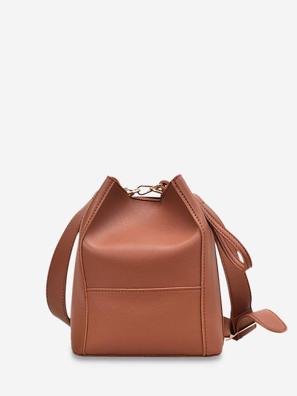 Outfits Plain Faux Leather Bucket Bag