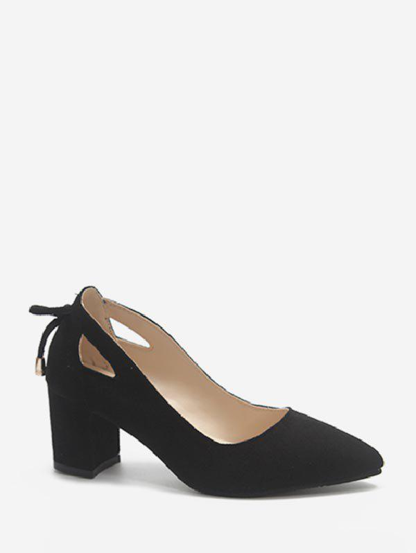 Unique Cut Out Tie Back Chunky Heel Pumps