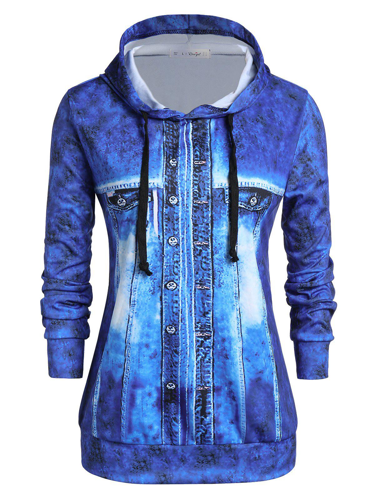 Unique Plus Size Faux Denim Jacket 3D Print Pullover Hoodie