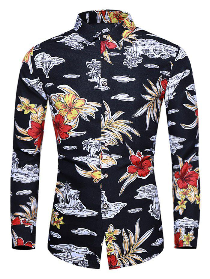 Affordable Plus Size Tropical Flower Print Button Up Casual Shirt