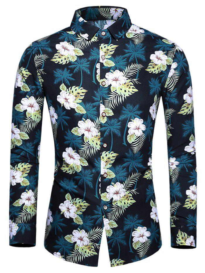 Chic Plus Size Tropical Flower Print Button Up Shirt