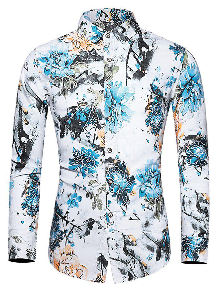 Trendy Plus Size Flower and Birds Print Button Up Shirt