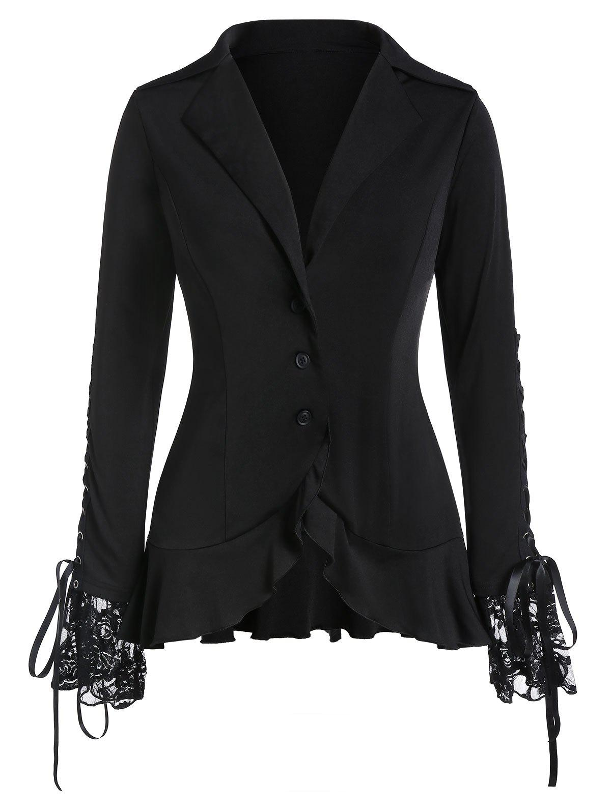 Affordable Plus Size Lace Up Button Solid Coat