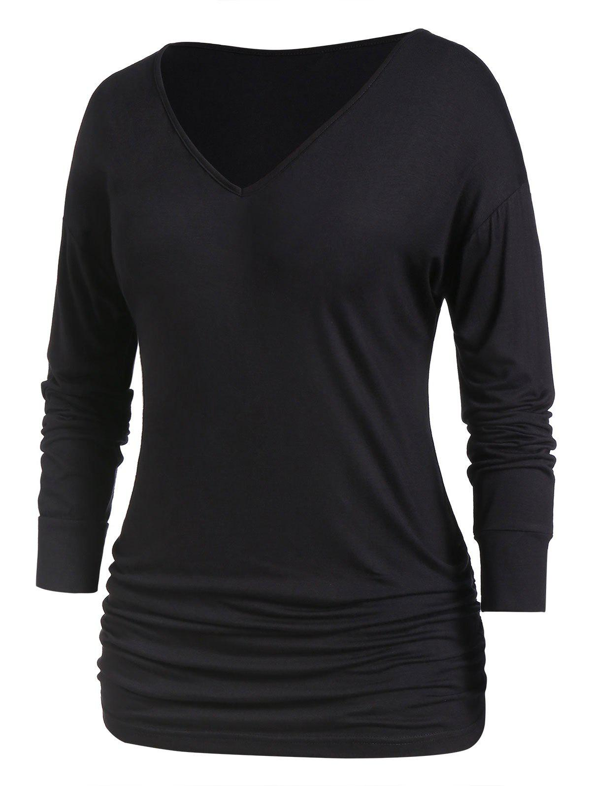 Online Plus Size Long Sleeve Tunic Basic T Shirt
