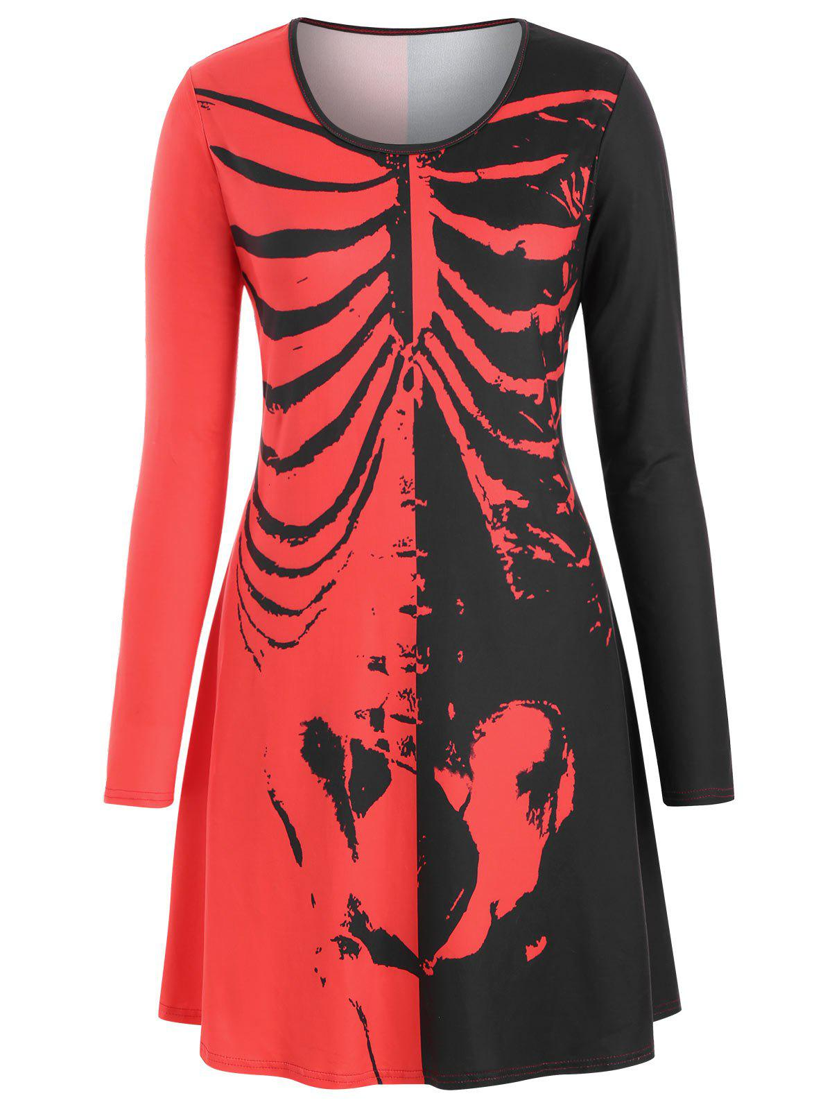 Shop Long Sleeve Skeleton Halloween Plus Size Tee Dress