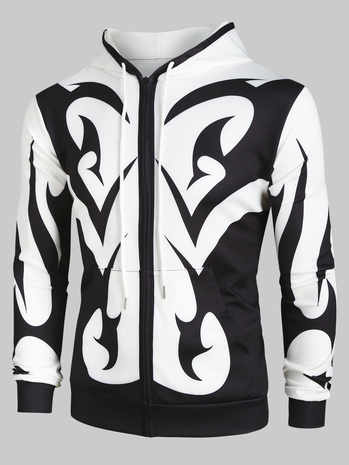 Latest Abstract Print Zip Up Pockets Hoodie