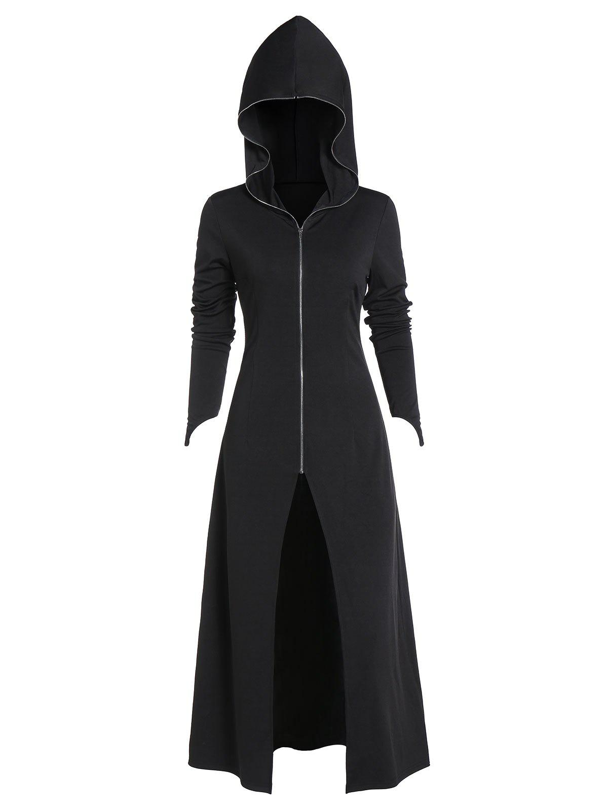 Cheap Hooded Zip Up Lace-up High Slit Gothic Long Coat