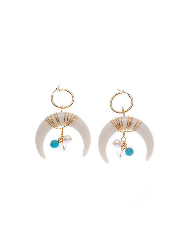 Unique Bohemian Artificial Pearl Turquoise Moon Earrings