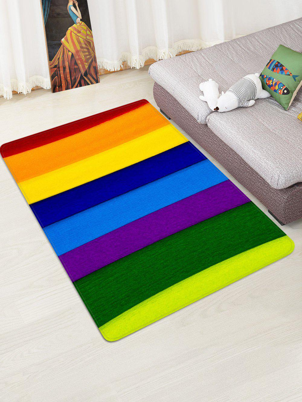 Chic Rainbow Striped Printed Floor Mat